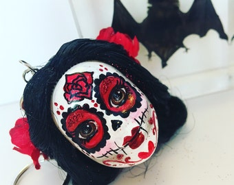 Sugar Skull Day of the Dead Keychain - Snow White Dia de los Muertos