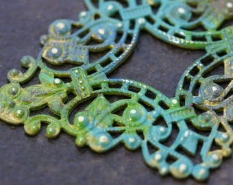 Filigree jewelry components. Reproduction brass filigree from the Czech Republic. Ranger patinas. 4 pieces. Beadwork, Jewelry making supply.
