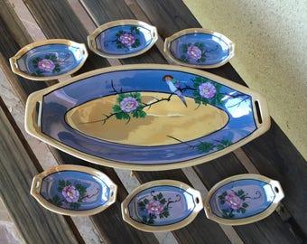 Lusterware Celery Set, Japanese Lusterware, Japanese Fine China, Sushi Set, Sushi Plate Set, Lusterware Plates, Lusterware Dishes