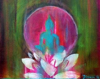"Poster ""Spirit of ZEN"" 12 x 16 "" Buddha // Present for Him // Present for Her // Fine Art Print // Wall Art // Lotus //"