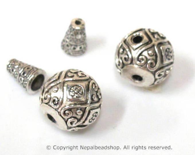 2 Guru beads  - Large size 14 mm x 15 mm Tibetan silver 3 hole Guru Bead with column bead  dotted floral heart design - GB059s