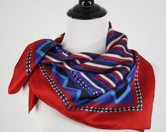Vintage Red, White, Blue Stripes and Zig Zags Square Scarf by St. RamonSe