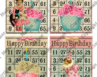Happy Birthday Bingo Cards Girl  8 Large & ATC Vintage Shabby Chic Clown DIY 3 Digital Collage sheet Printable