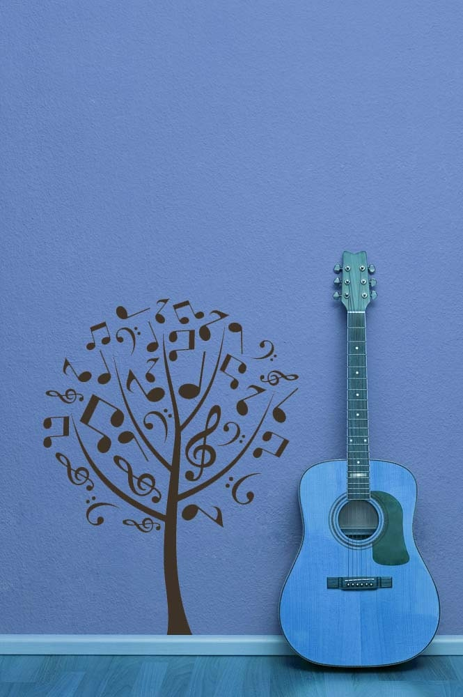 tree wall decal music notes treble bass clef musical. Black Bedroom Furniture Sets. Home Design Ideas