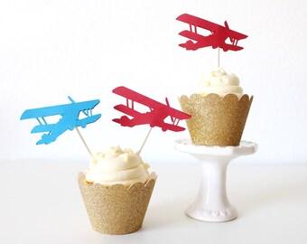 Cupcake Toppers - Airplane Cupcake Toppers - Airplane Party - UP UP and away - Airplane Toppers - Airplane Cupcake - Airplane Birthday