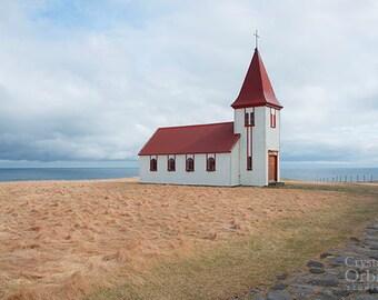 Iceland Print, Church by the Sea, Iceland Photography, Travel Photography, Fine Art Photography, Iceland Art, Rustic Wall Art
