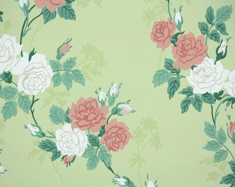 1940s Vintage Wallpaper - Floral Vintage Wallpaper Pink and White Roses on Yellow-Green