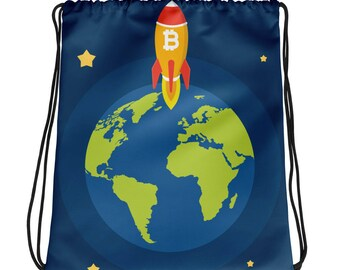 New Drawstring Bag Bitcoin Spacecraft Leaves Earth Special Gift