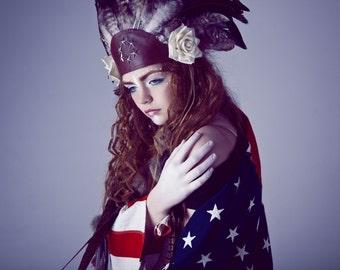 Tribal festival feather headdress, costume headpiece, feather and flower headband