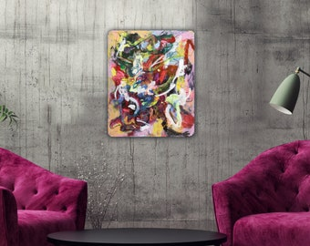 Abstract Painting Original Modern Art Urban Acrylic on Screen Wall Art Decor White Contemporary Painting Abstract Expressionist Graffiti