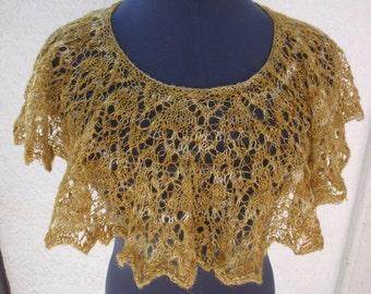 Hand Spun Hand Knit Capelet - Golden Arrow