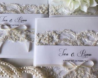 Elegant White Beaded Lace Wedding Invitation
