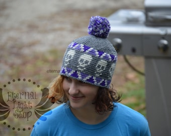 ANY COLORS Skull Crochet Beanie One Size Teen/Adult