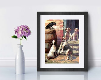 Boy's Room Art, Girl's Room Art, Family Room Art,Guest Room Art,  Dogs and Crow, Sweet Dogs Print #329