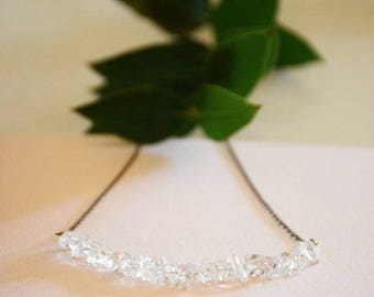 Bridal Crystal and fine brass chain necklace