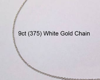9ct 375 Solid White Gold Trace Link Type Chain Necklace for Pendant Jewellery - PS50