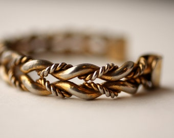 ON SALE 1960s Gold-Plated Braided Cuff Bracelet