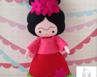 Frida Kahlo Art Felt Doll Collectible
