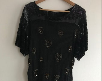 Sequin Black Shirt (with hearts)