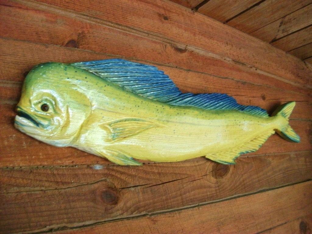Mahi Mahi 4ft. detailed chainsaw carving wood saltwater