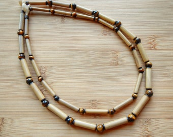 Kauai Bamboo Jewelry - Hawaiian Bamboo and Tigereye Necklace