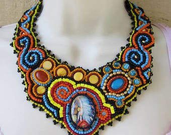 Chief Edward Eagle Feather Bead Embroidered Statement Necklace