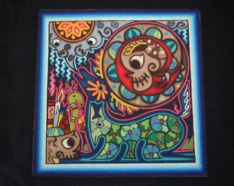 Blue Deer Trickster 12'' x 12'' Huichol Indian Day of the Dead Yarn Painting by Luis Castro