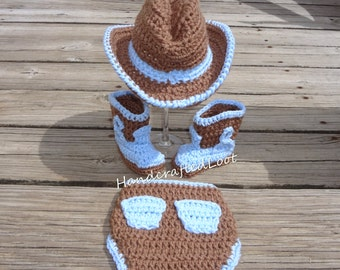 Newborn Baby Crochet Cowboy Hat Boots Photo Prop Set Outfit Diaper Cover Pockets 0-3 Months Shower Gift