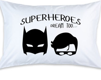 Children's Superheroes Dream Too, Printed Pillow Case (1) Batman and Robin