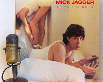 """Mick Jagger (The Rolling Stones) Vinyl Record Album Solo LP 1980s Pop Rock and Roll Dance """"She's The Boss"""" (1985 Cbs w/""""Lonely At The Top"""")"""