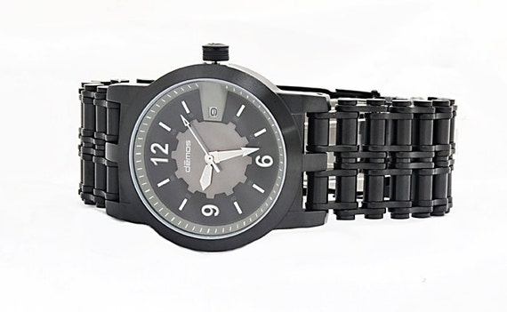 Mayans MC style CHAIN Watch / Son of Anarchy style / Biker wristwatch - Black IP Stainless Steel Bracelet with Black / White Dial motorcycle