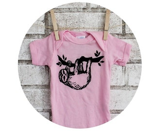 Cute Hanging Sloth Baby Onepiece Bodysuit in Pastel Light Pink, Short Sleeved Cotton One Piece Romper, Baby Girl Gift, Infant Clothing