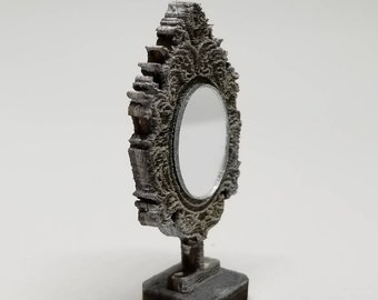 Miniature Dollhouse Baroque style vanity mirror finish in French Grey 1:12 scale