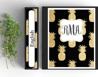Gold Pineapple Monogram Binder Cover-Personalized Binder Inserts and Spines (8.5x11in)- Printable Binder Covers-Editable