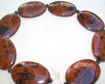 Mahagany Jasper, oval beads, 35mmx25mm