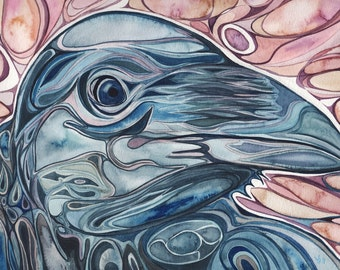 Beautiful Crow 5 x 7 print of hand painted detailed watercolour artwork in rich rust salmon pink and dark blue colours