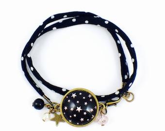 Black fabric bracelet with white polka dots - Cabochon I'm a Princess