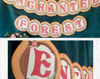 Enchanted Forest Woodland Party Banner Printable  Instant Download
