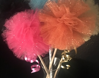 Glitter Tulle Pom poms on a stick