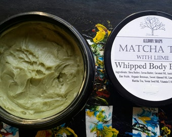 Japanese Matcha Tea with Lime Whipped Body Butter made with Organic Matcha Tea Powder Packed Full of Antioxidants