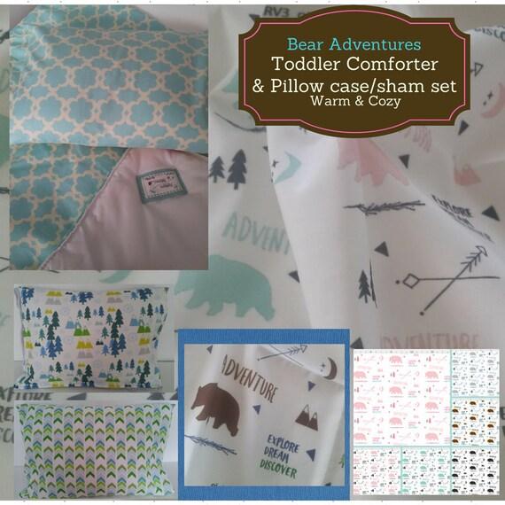 Toddler Comforter Set - Bear Meadow Adventures, Custom Bedding, Pillow Case / Sham, Kids Comforter, Nature Arrow Mountain Bedding