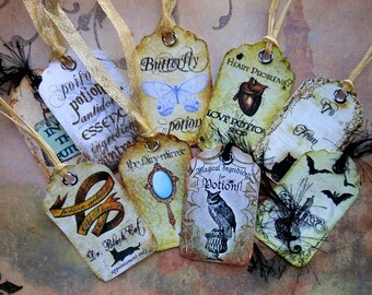 Set of 9 Spirited HANG TAGS- MAJICK love potion poison labels Wicca witchcraft imaginative spiritual art bottle decorations wine bottle tag