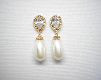 Bridal Elegant Yellow Gold Swarovski Teardrop Pearl Cubic zirconia Earrings White Ivory Blush Pink Vintage Wedding Bridesmaids