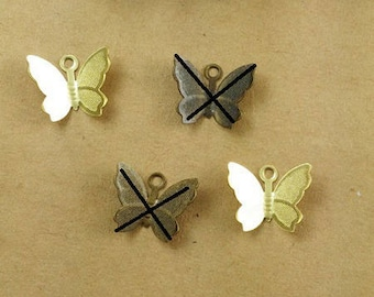 10 charms Butterfly brass raw 13 * 11mm