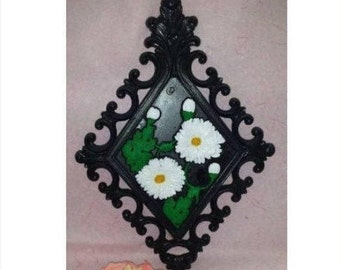 Vintage White Daisy Wall Plaque,Homco,Black, White, Daisy, Flower,Floral Wall hanging,Home Interiors, Floral Plaque, Upcycled,1970s