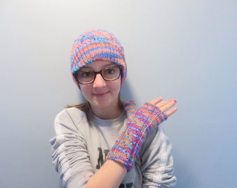 Hat and gloves without fingers/multicolor/woman/teen/knit
