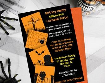 Halloween Party Invitations, Halloween Invitations, Party Invites, Costume Party Invitations, Halloween Party, Printable Invitations