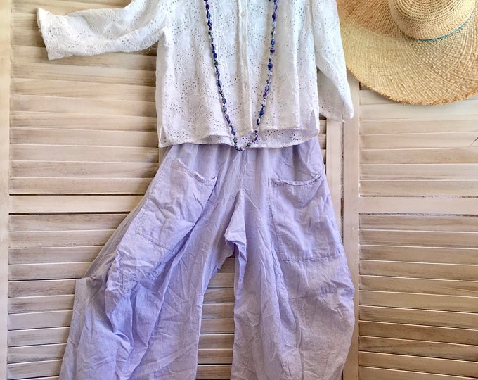 Size small tiny pinstripe cotton voile lagenlook pant