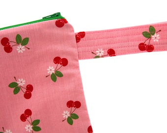 Large fabric zippered pouch with strap, Red Cherry on pink, by Riley Blake