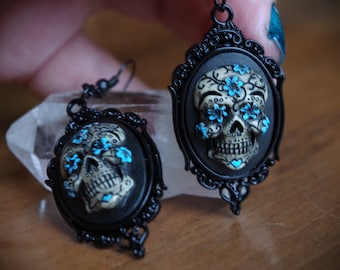 Pair Black and Blue Black Setting Sugar Skull Day of the Dead Dia De Los Muertos Hand Made Earrings
